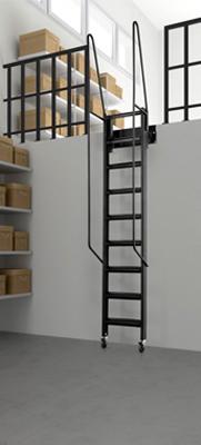 Escalera de rampa r gida fija a pared mod soppalco de for Escaleras para altillo